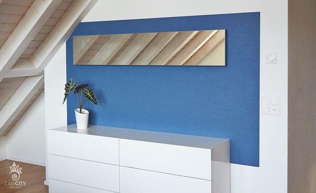 Schlafzimmer wand in blau diy for Eine wand farbig