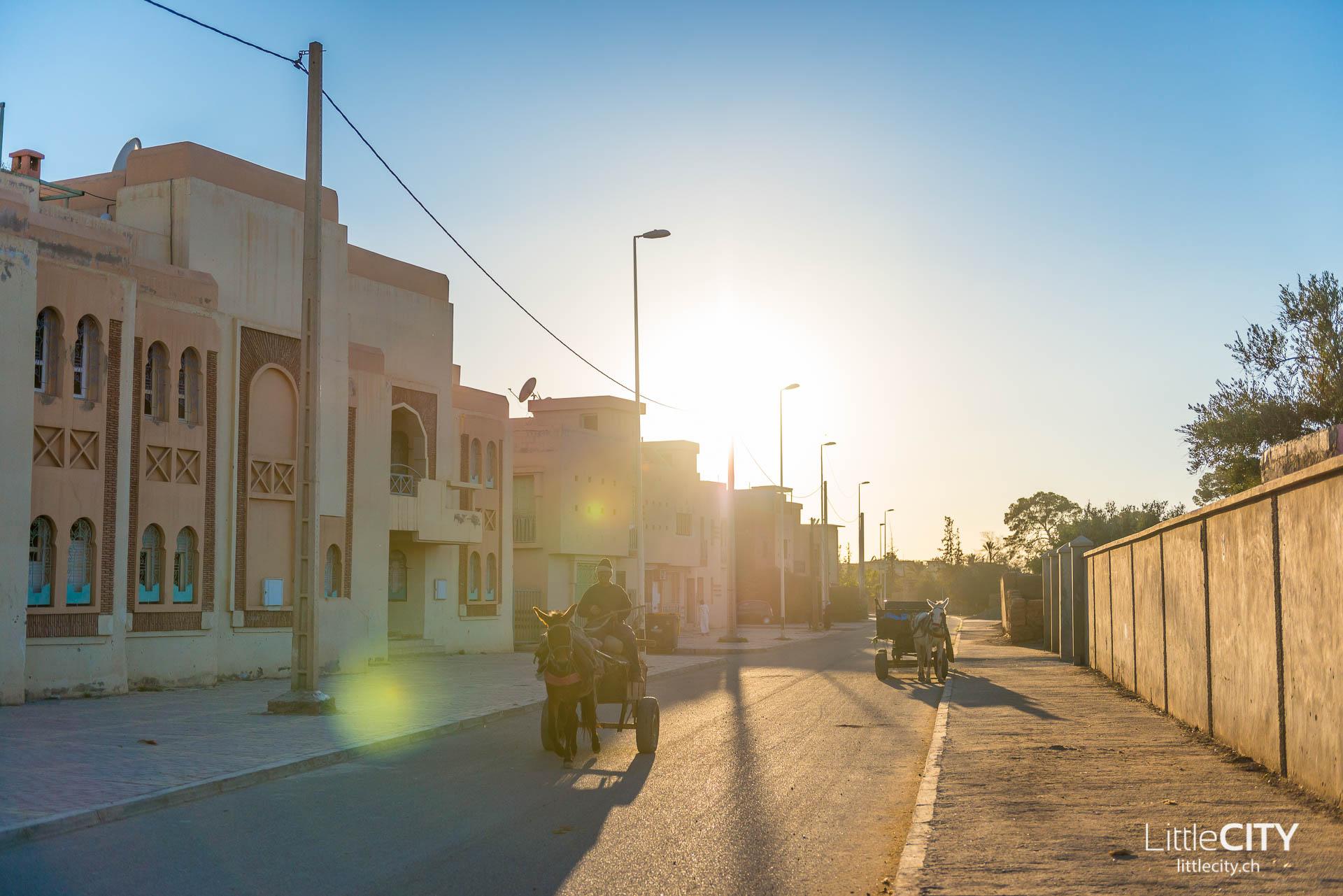 Marrakesch Strassen Sonnenuntergang