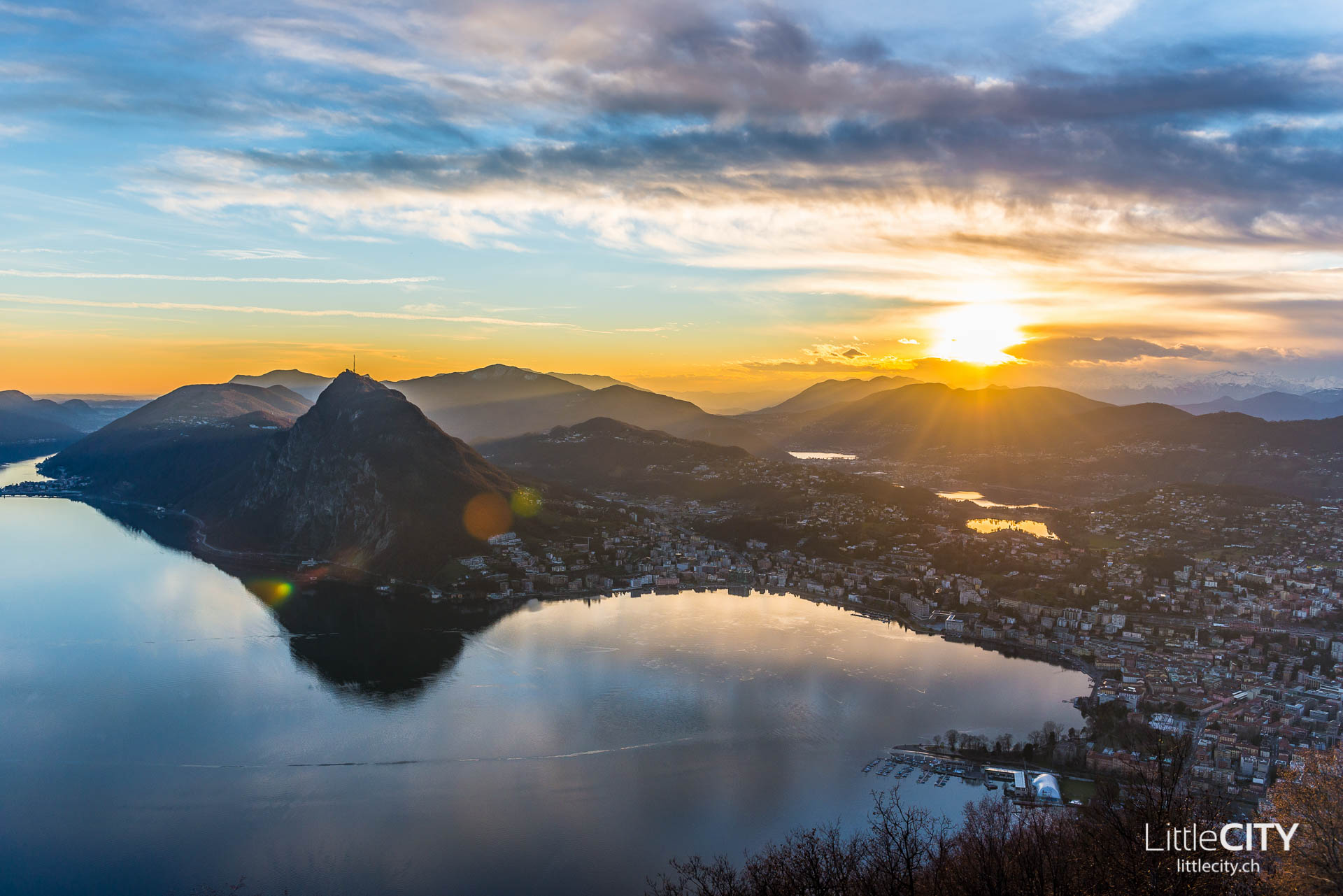 Tessin Monte Bré Lugano Sonnenuntergang