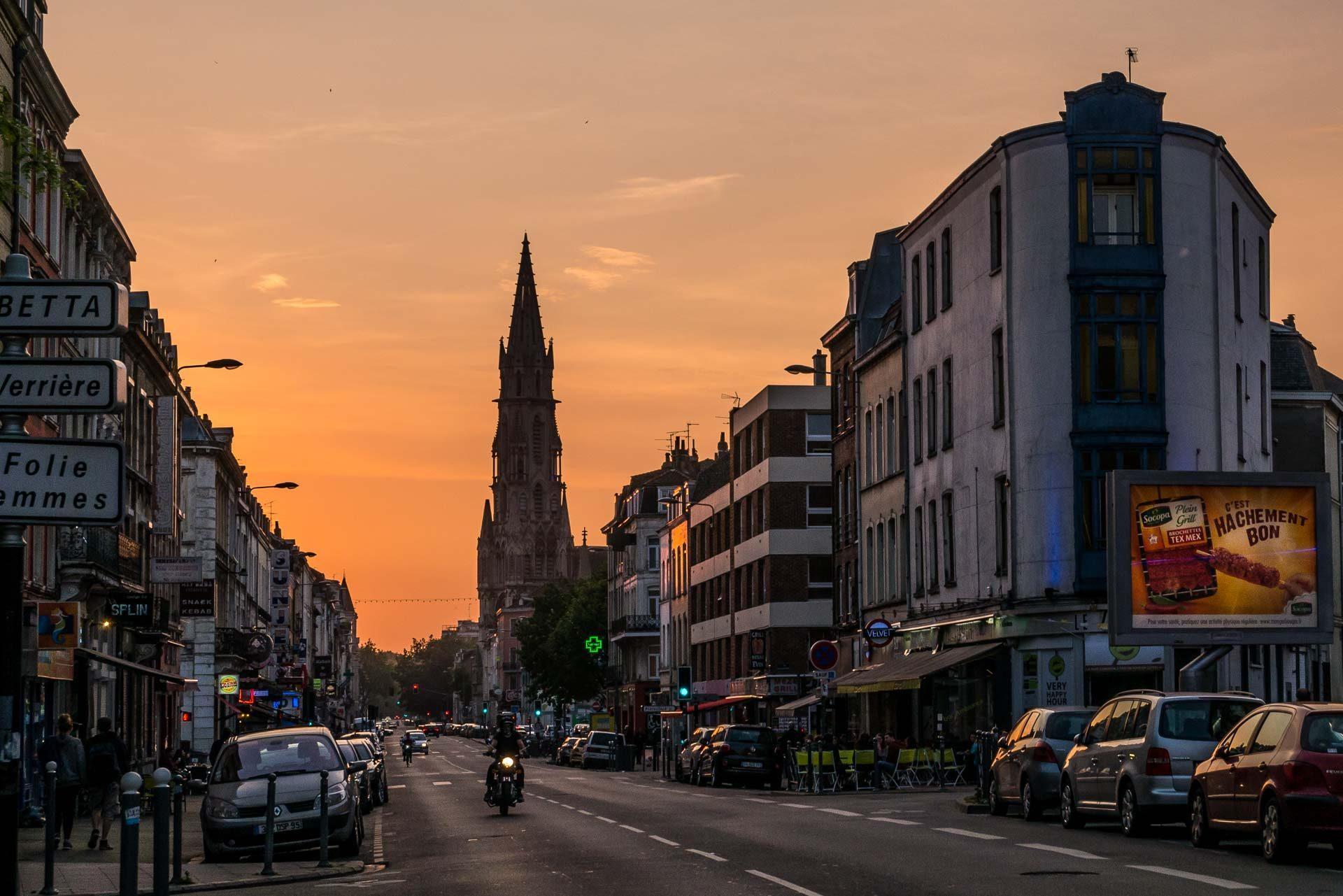 Lille Sehenswürdigkeiten Notre Dame Sonnenuntergang