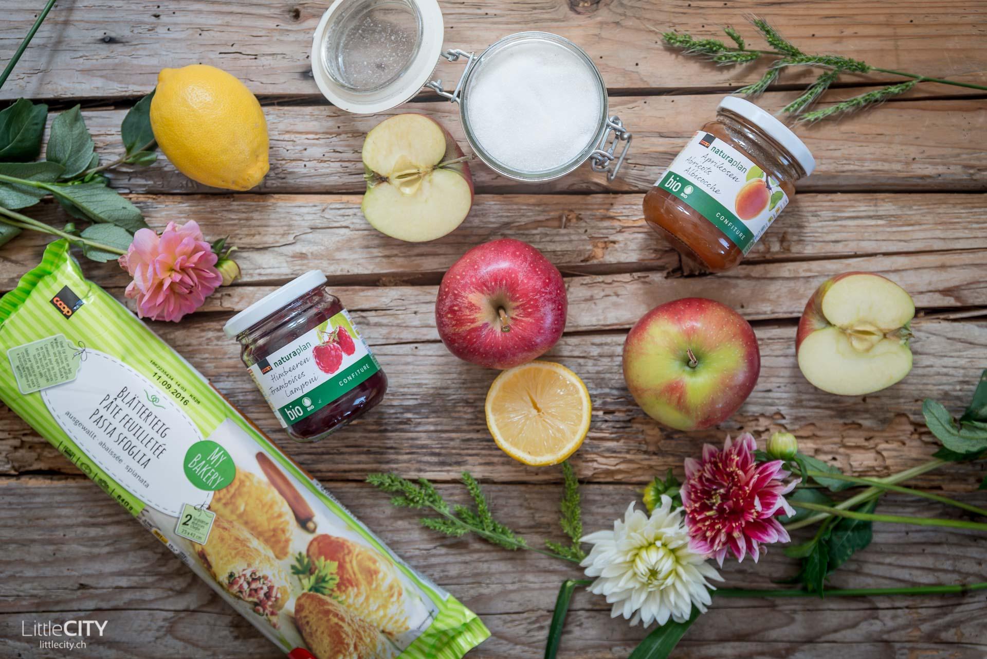 Apfelrosen aus Blätterteig Zutaten