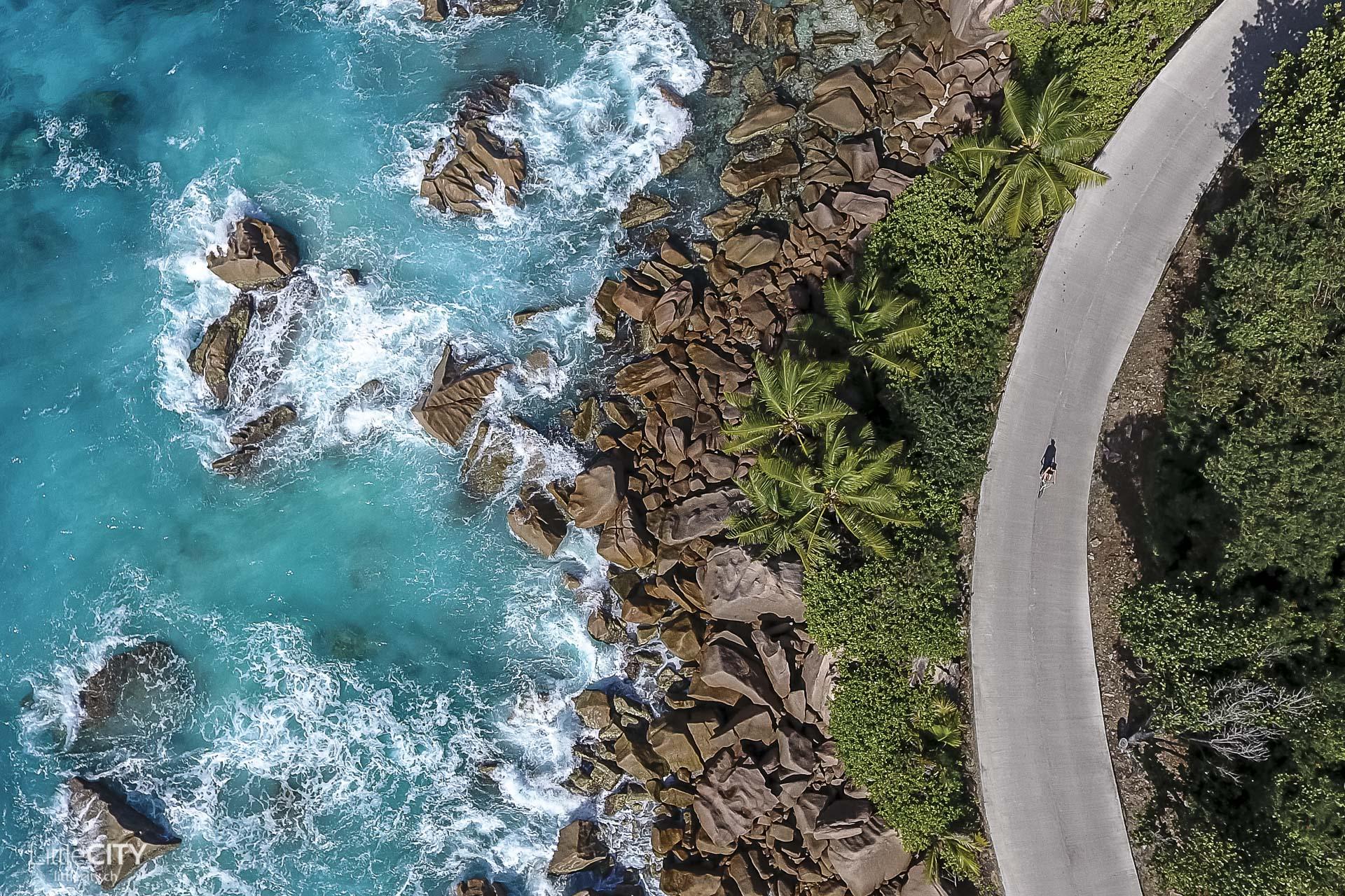 La Digue Seychellen aus der Luft mit der Drohne
