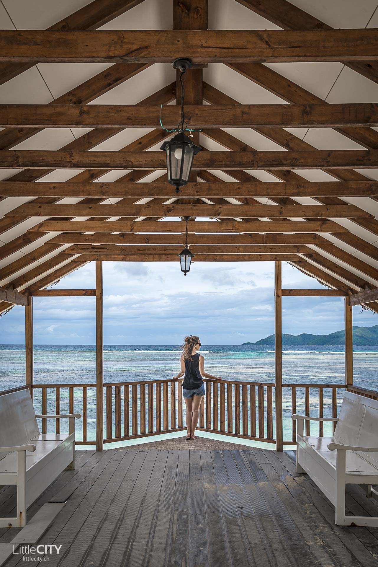 La Digue Pavillion am Strand