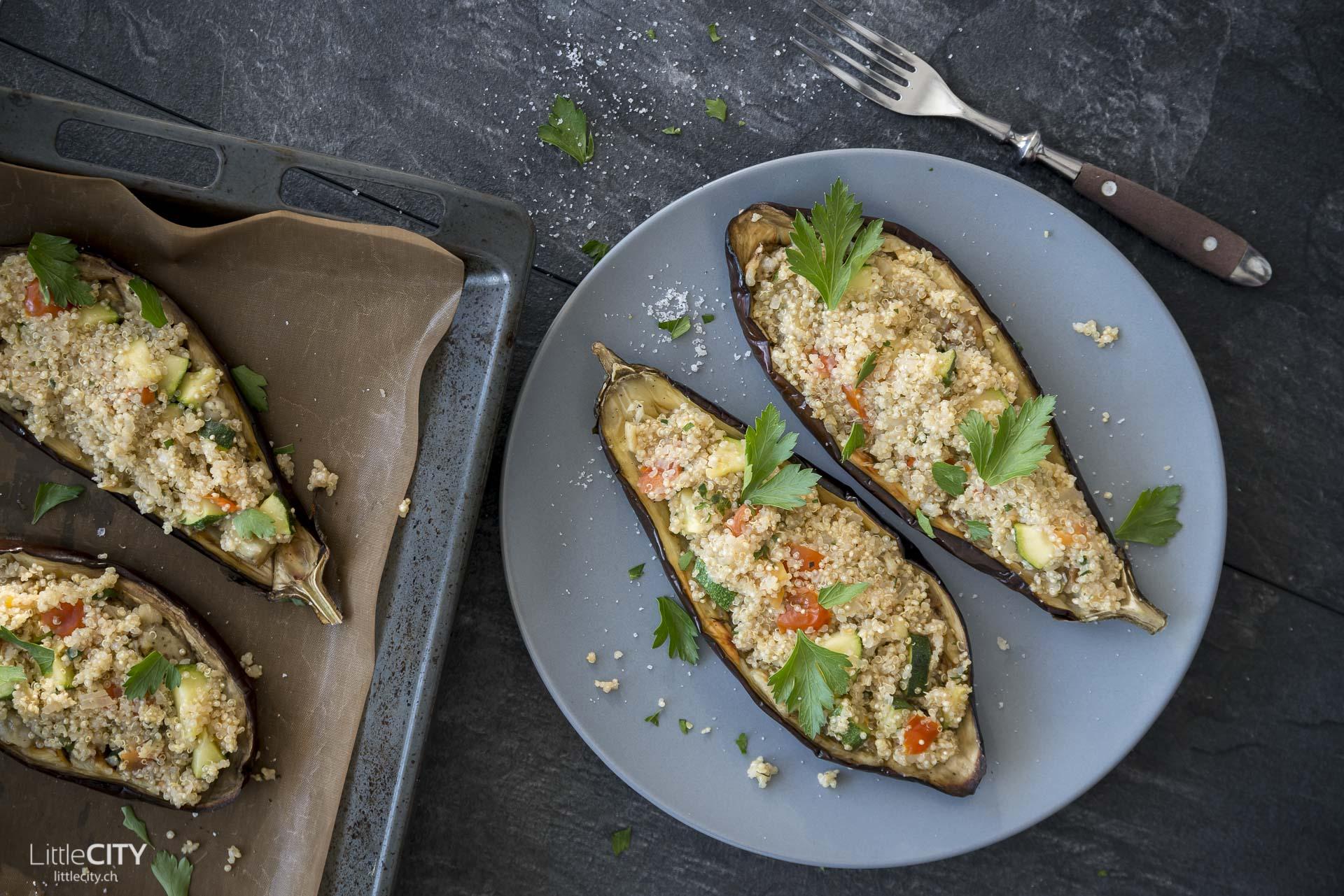Gefüllte Auberginen mit Quinoa Rezept