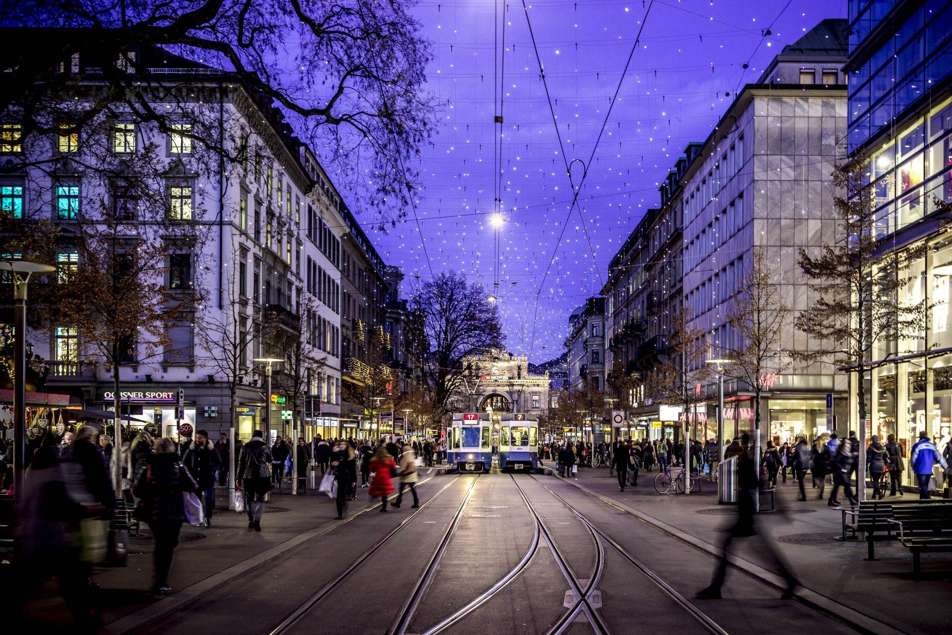 Zürich Bahnhofstrasse im Winter
