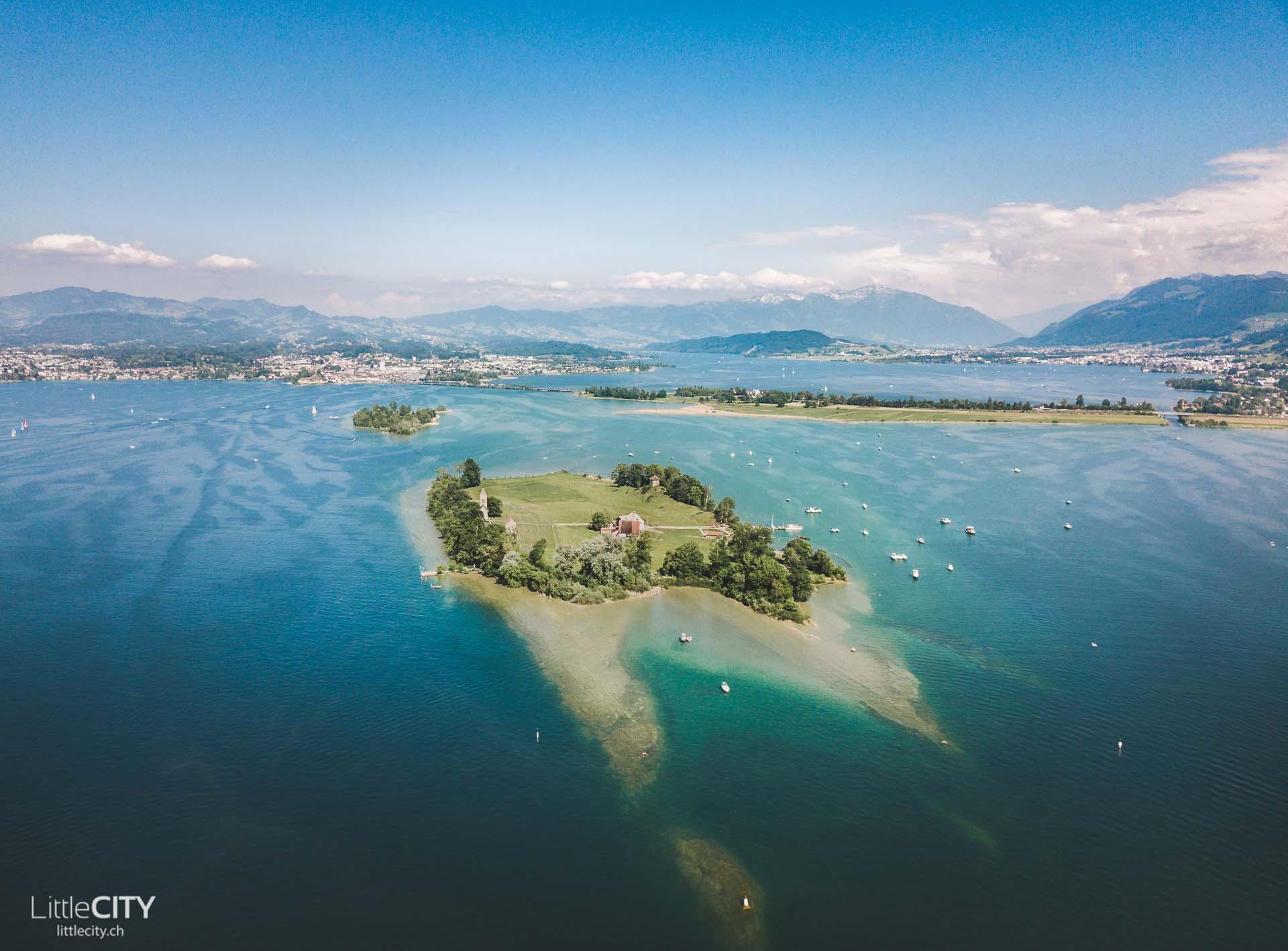 Insel Ufenau Zèrichsee Luftaufnahme