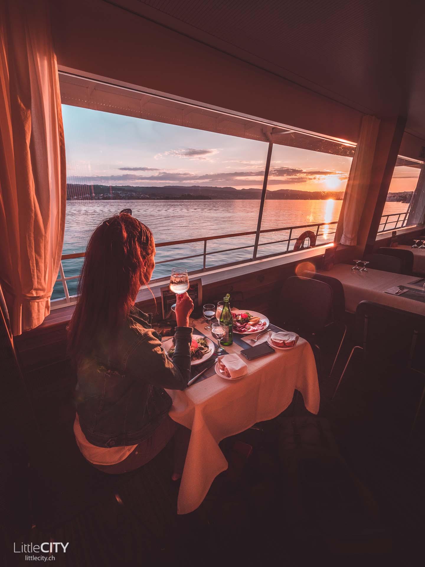 Insel Ufenau Schiff Sonnenuntergang