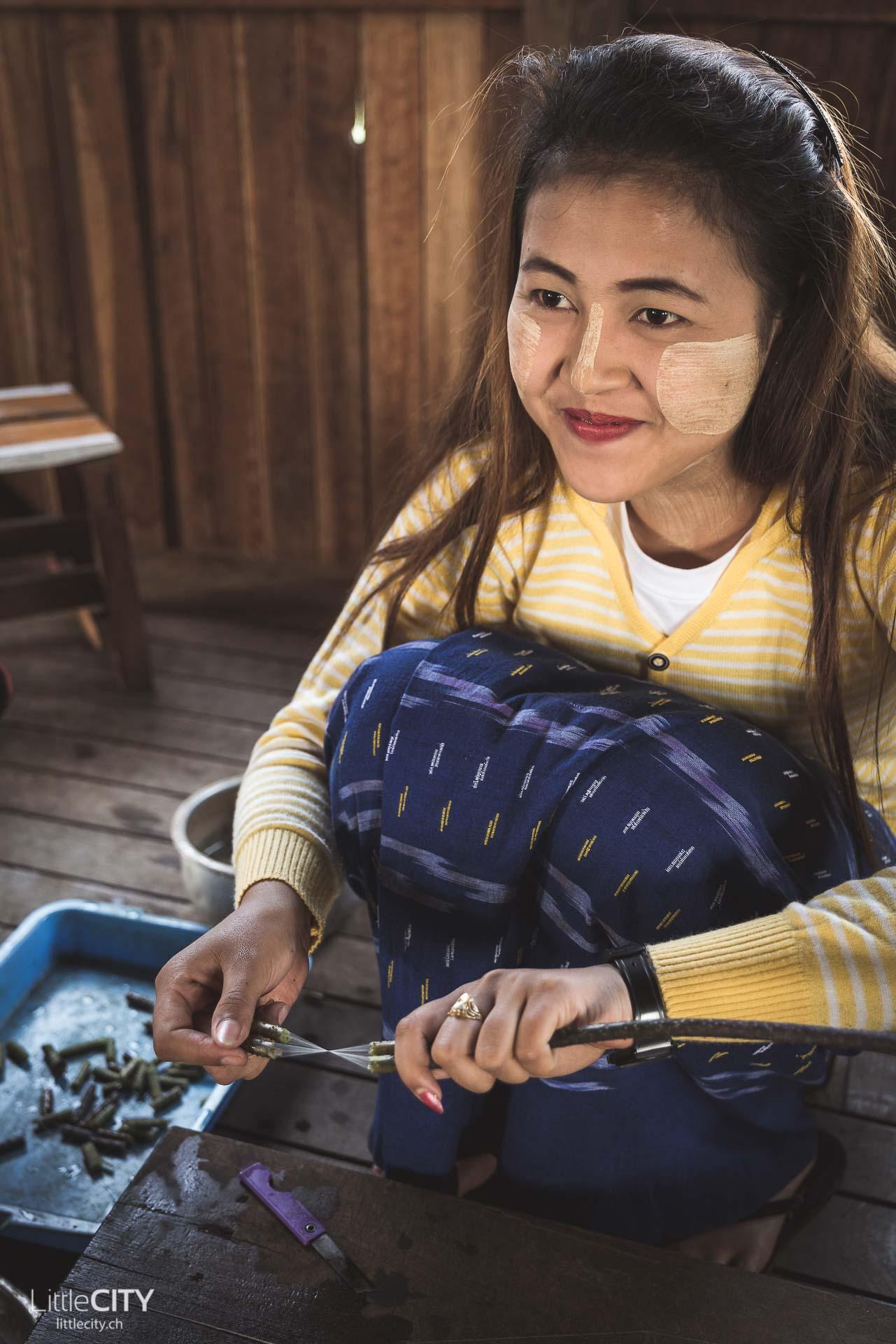 Myanmar Reisetipps & Fakten: Paste im Gesicht