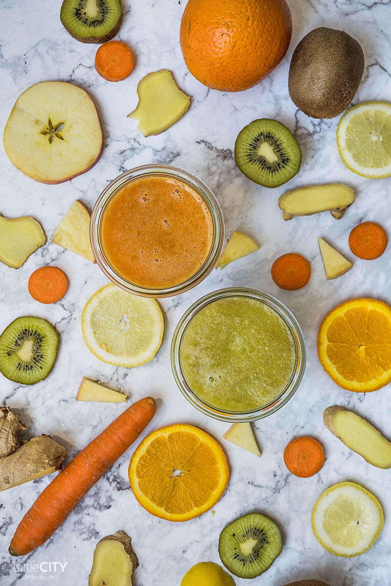 Slow Juicer Saft Rezepte mit Kiwi und Orangen, Karrotten und Apfel