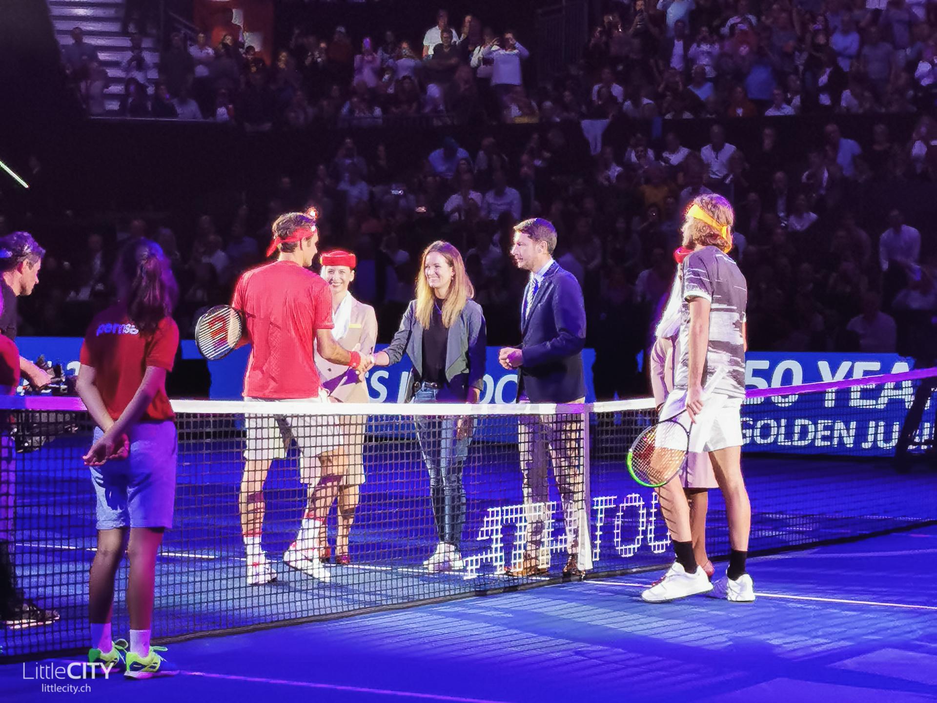 Swiss Indoors Halbfinal Coin Toss Roger Federer
