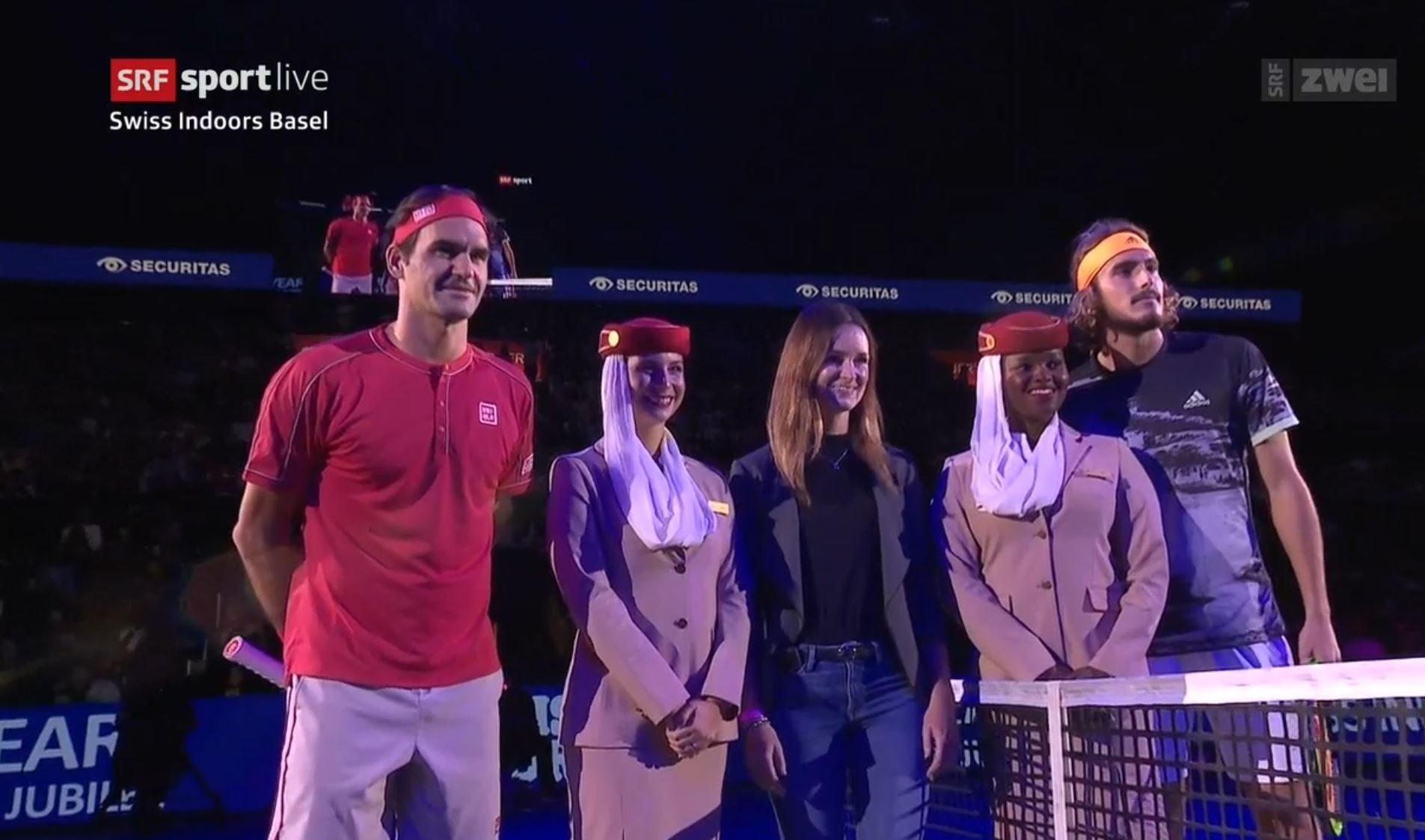 Swiss Indoors Coin Toss Roger Federer