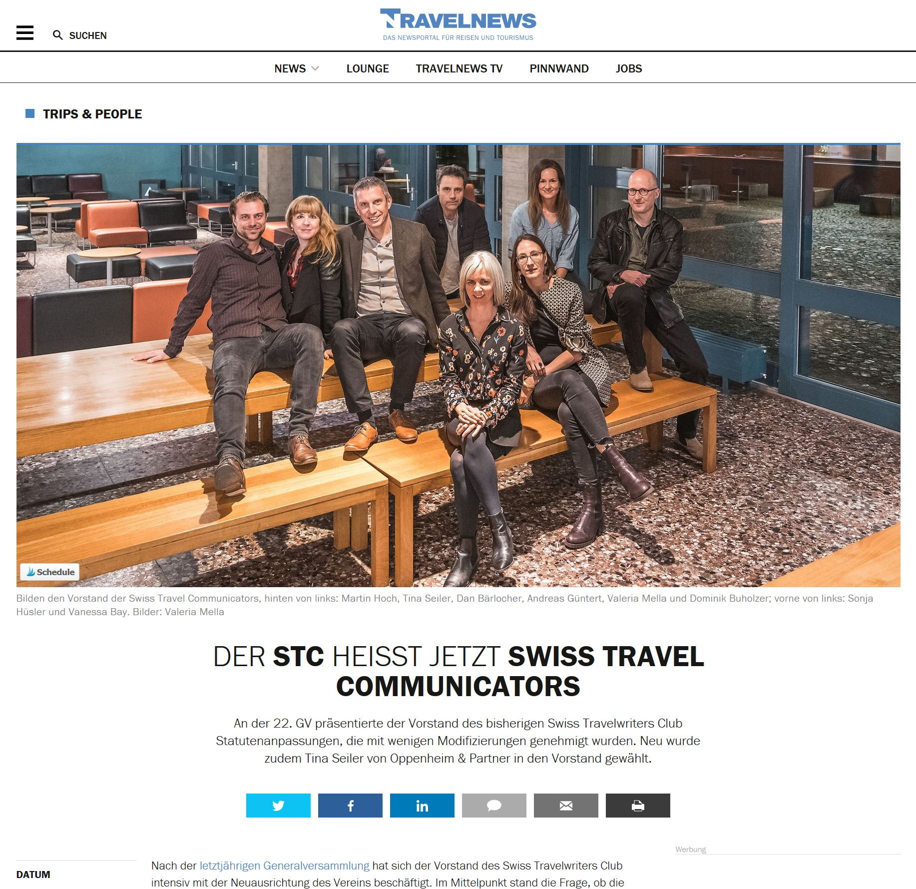 Travelnews Swiss Travel Communicators