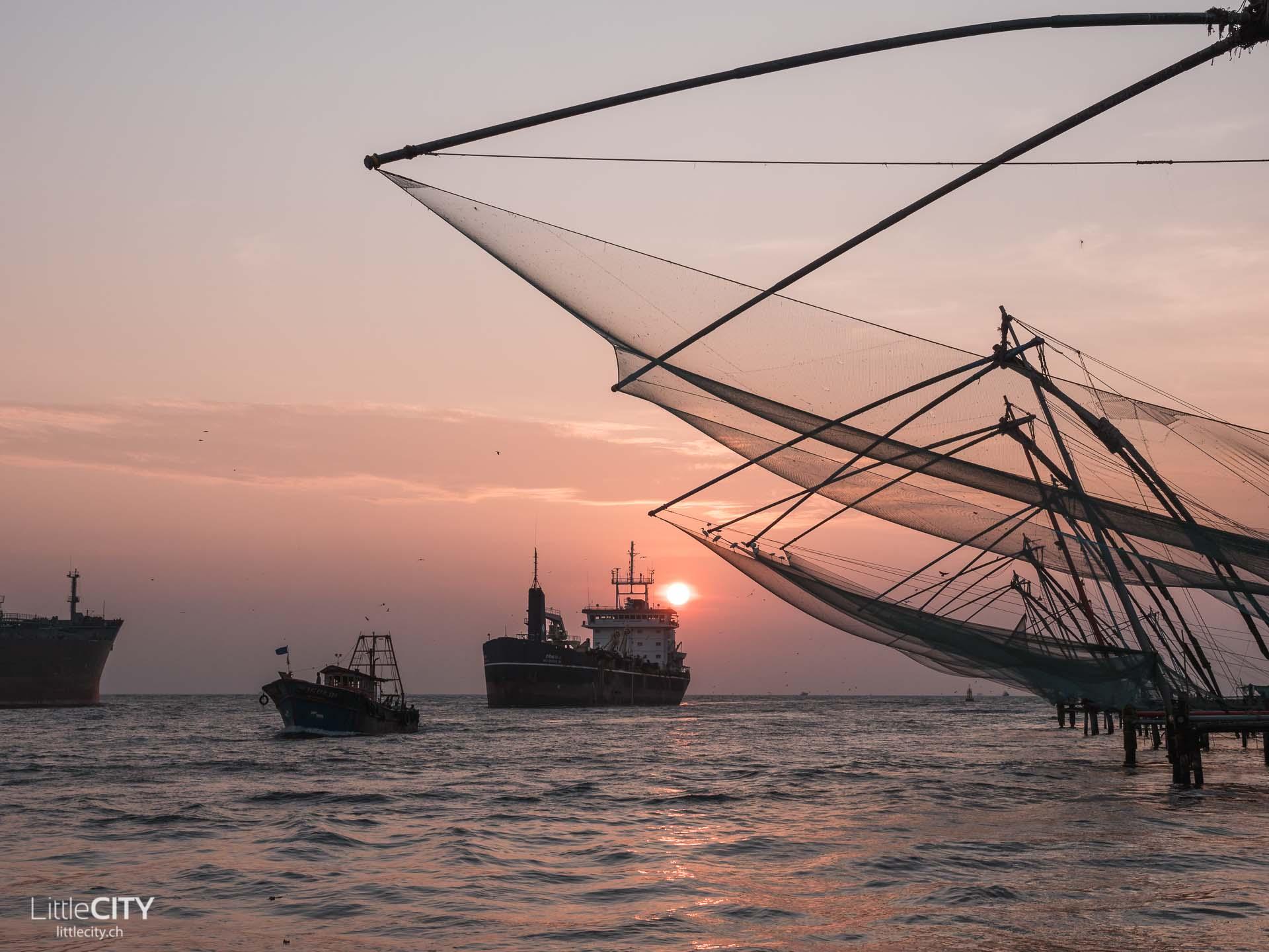 Fischernetze Fort Kochi Indien