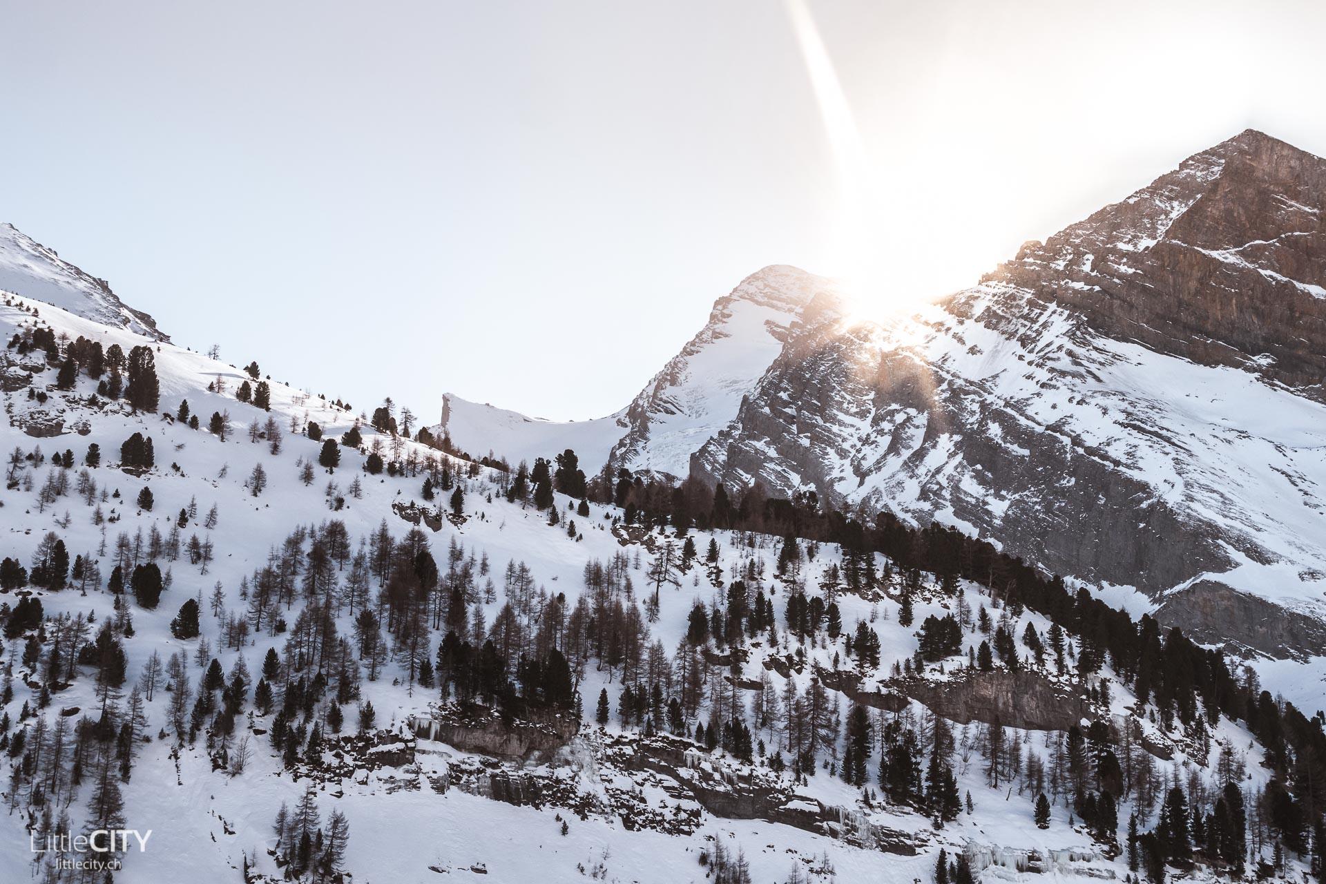 Gemmipass Wanderung Kandersteg Winter