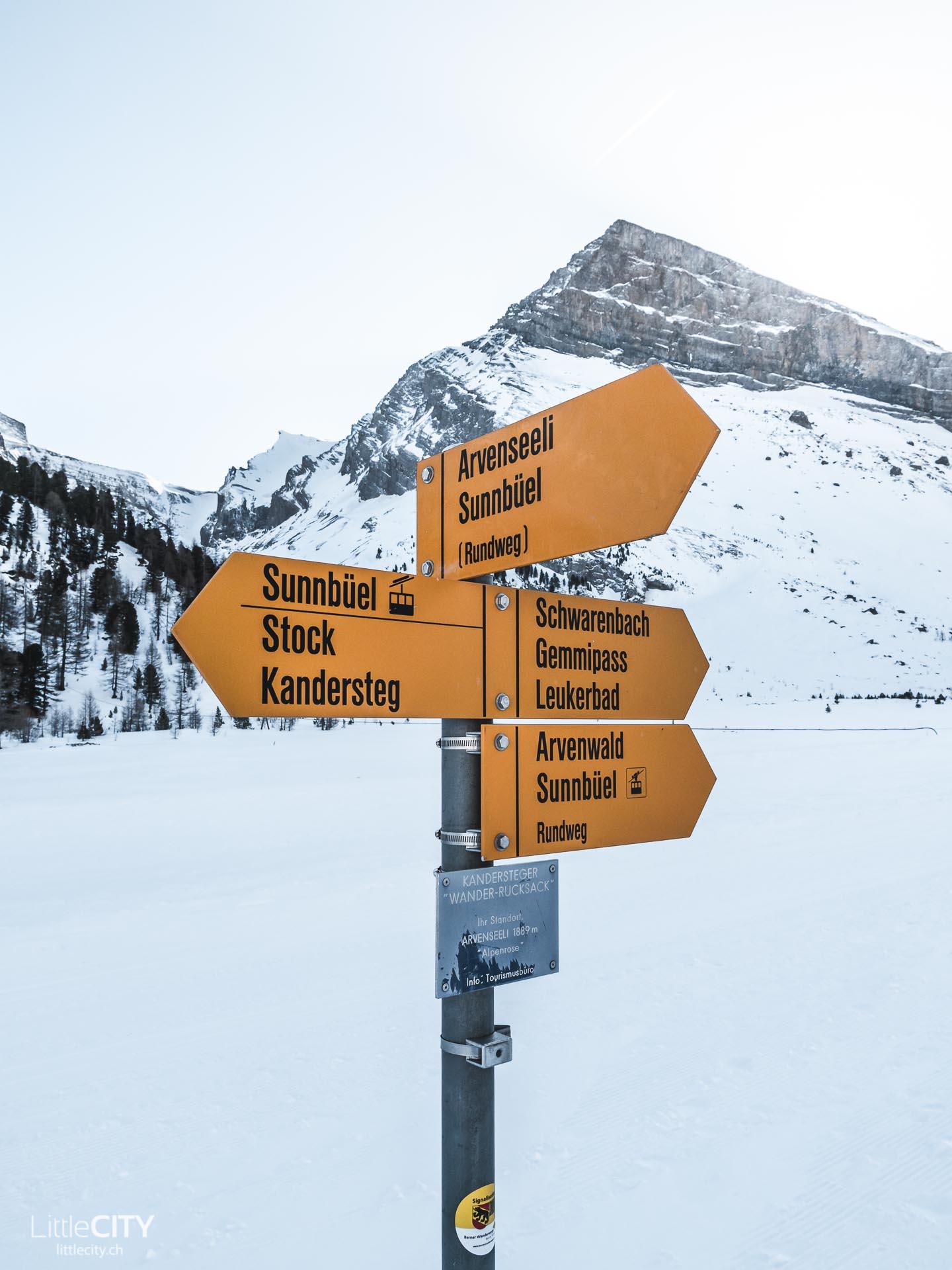 Gemmipass Wanderung winter