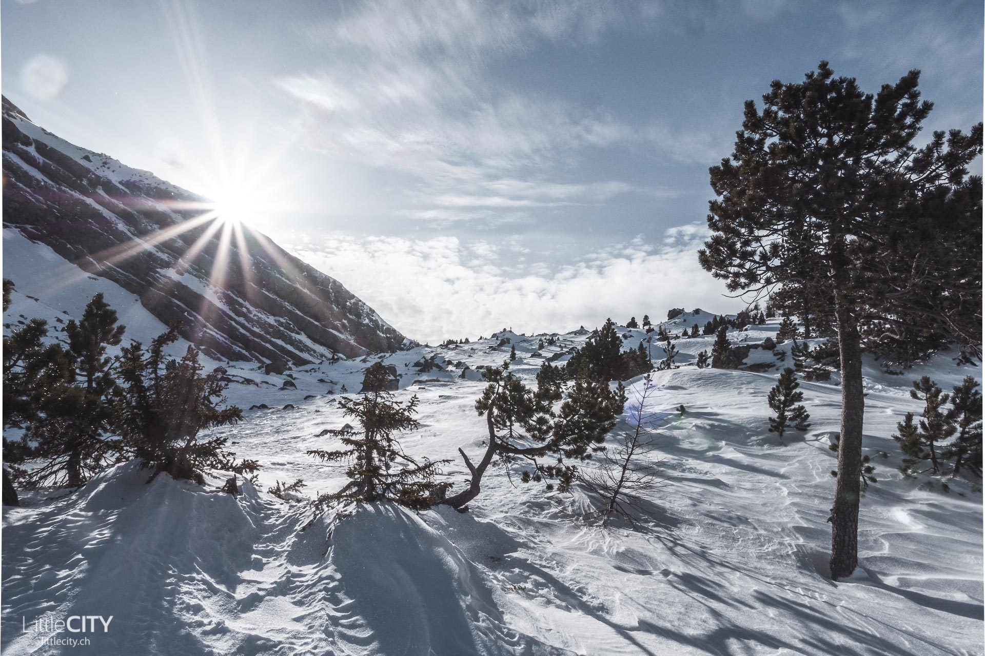 Gemmipass Wanderung im Winter
