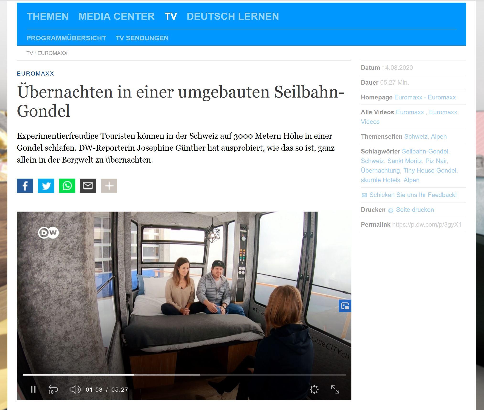 Euromaxx Tiny House Gondel Deutsche Welle DW